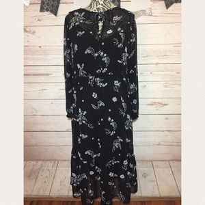 Who What Where Black Floral Sheer Lined Dress